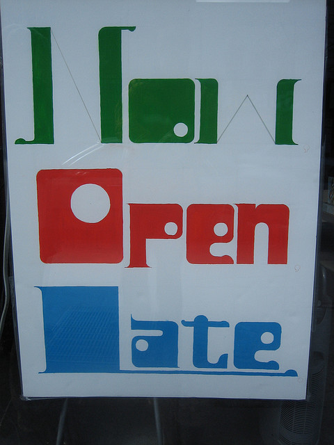 Now Open Late signs