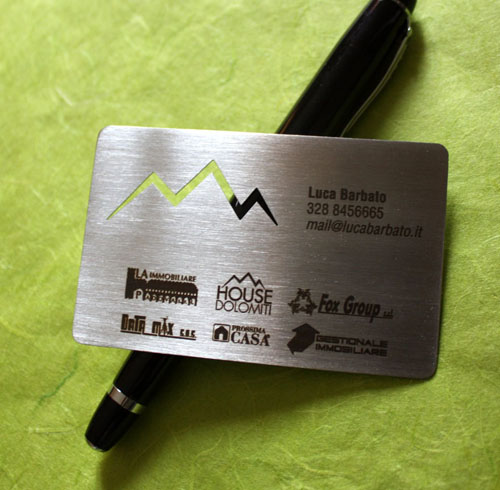 metal steel business cards