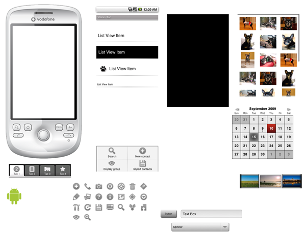 Android Sketch Wireframe for OmniGraffle GUI