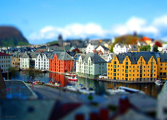 Miniature lesund harbour