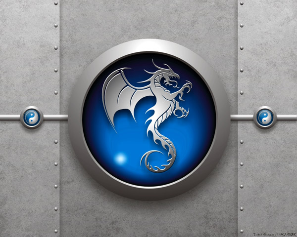 Tribal Dragon 17 Blue Wallpaper