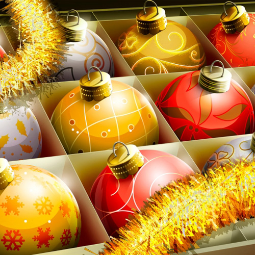 Christmas tree bulbs iPad Wallpaper