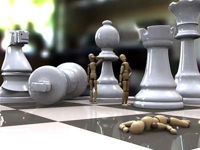 go to Chess Wallpapers: chess board with pieces and robot