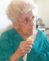 Mom eating lefse