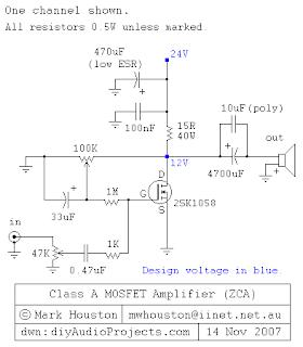 30watt audio amplifier with 2SK1058 mosfet circuit