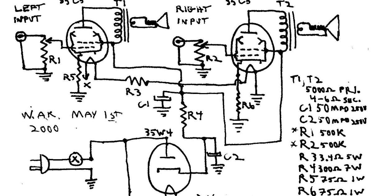 wiring schematic diagram  3 tube amp 1