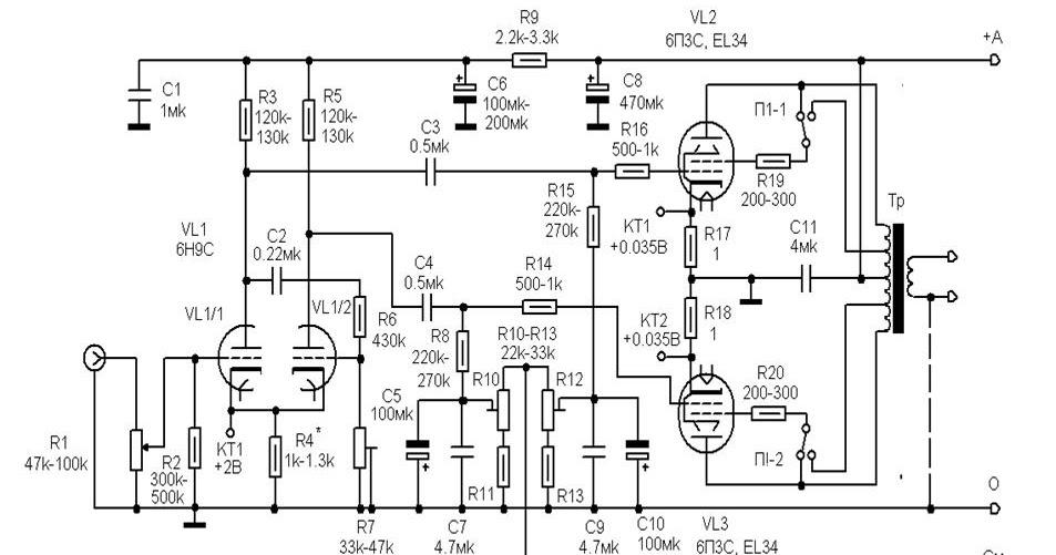wiring schematic diagram  tube 6h9c   6p3s or el34 1 28watt push pull hi