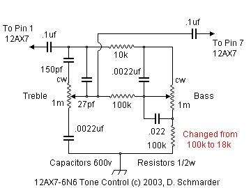 12ax7 or 6n6 audio tone control
