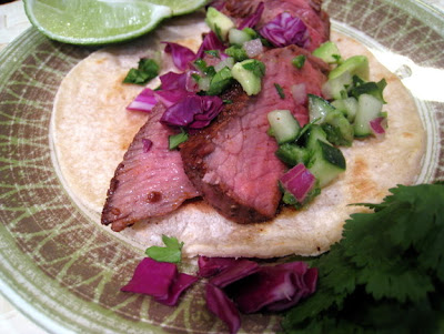 CEiMB: Steak Tacos with Cucumber-Avocado Salsa