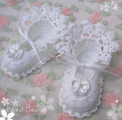 Vintage BABY Booties Soft Shoes Thread Crochet PATTERN For Sale
