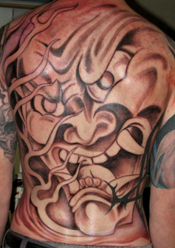 full back and head tattoo