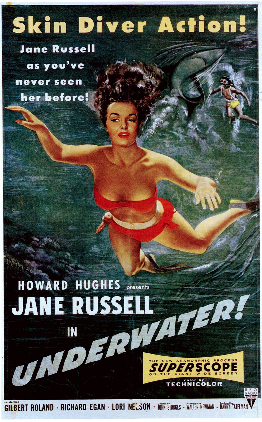 ... in favor of focussing on Jane Russel in a red bikini.