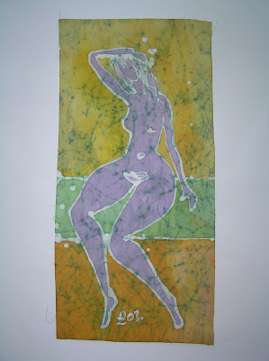 zorica, duranic, đuranić, batik, canvas, painting, gallery, art, act, nude woman, nude act, pink woman, pink act, artistic act