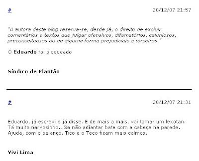comentários no m blog da Cora Rónai