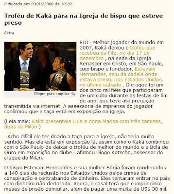 matéria publicada no GLOBO DIGITAL de 03 de janeiro de 2008