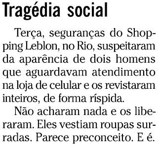nota publicada na coluna ANCELMO GOIS, em O GLOBO, em 06 de março de 2010