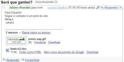 email do leitor Juliano Brandão, enviado às 21h16min