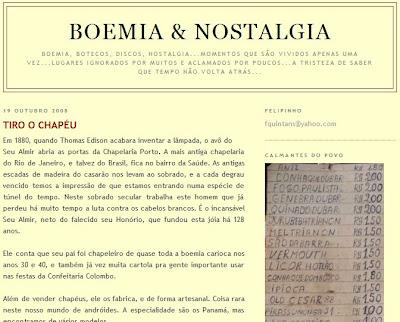texto publicado no BOEMIA & NOSTALGIA em 19 de outubro de 2008