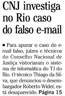 capa do jornal O GLOBO de 21 de maio de 2010