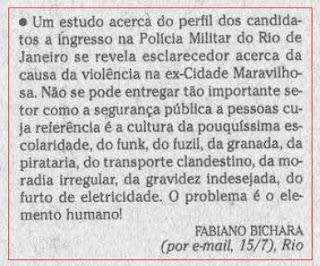 publicada na seção CARTA DOS LEITORES de O GLOBO em 16 de julho de 2008