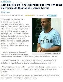 matéria publicada no GLOBO ON LINE de 23 de outubro de 2009
