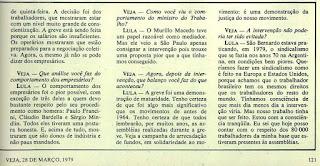entrevista de Lula na VEJA de 28 de março de 1979
