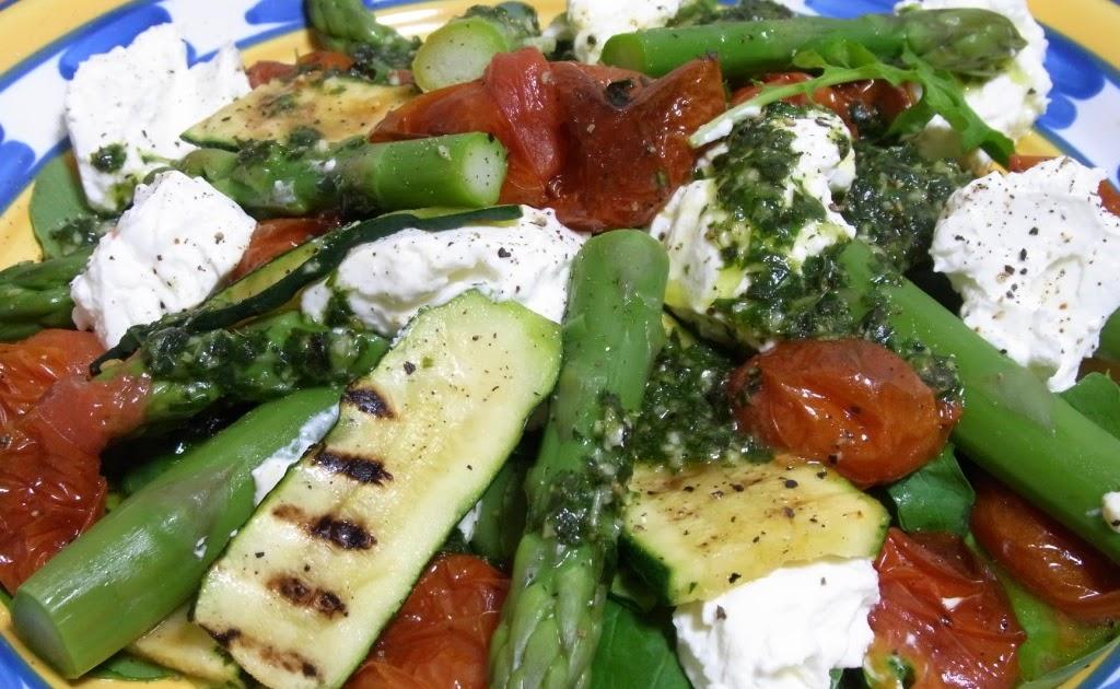 ... asparagus, zucchini and semi-dried tomato salad with yogurt cheese