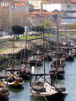 Boats in the river in Porto Portugal