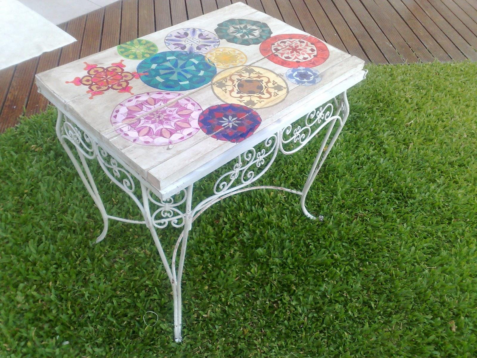 Vintouch muebles reciclados pintados a mano mesa de - Mesa de jardin ...