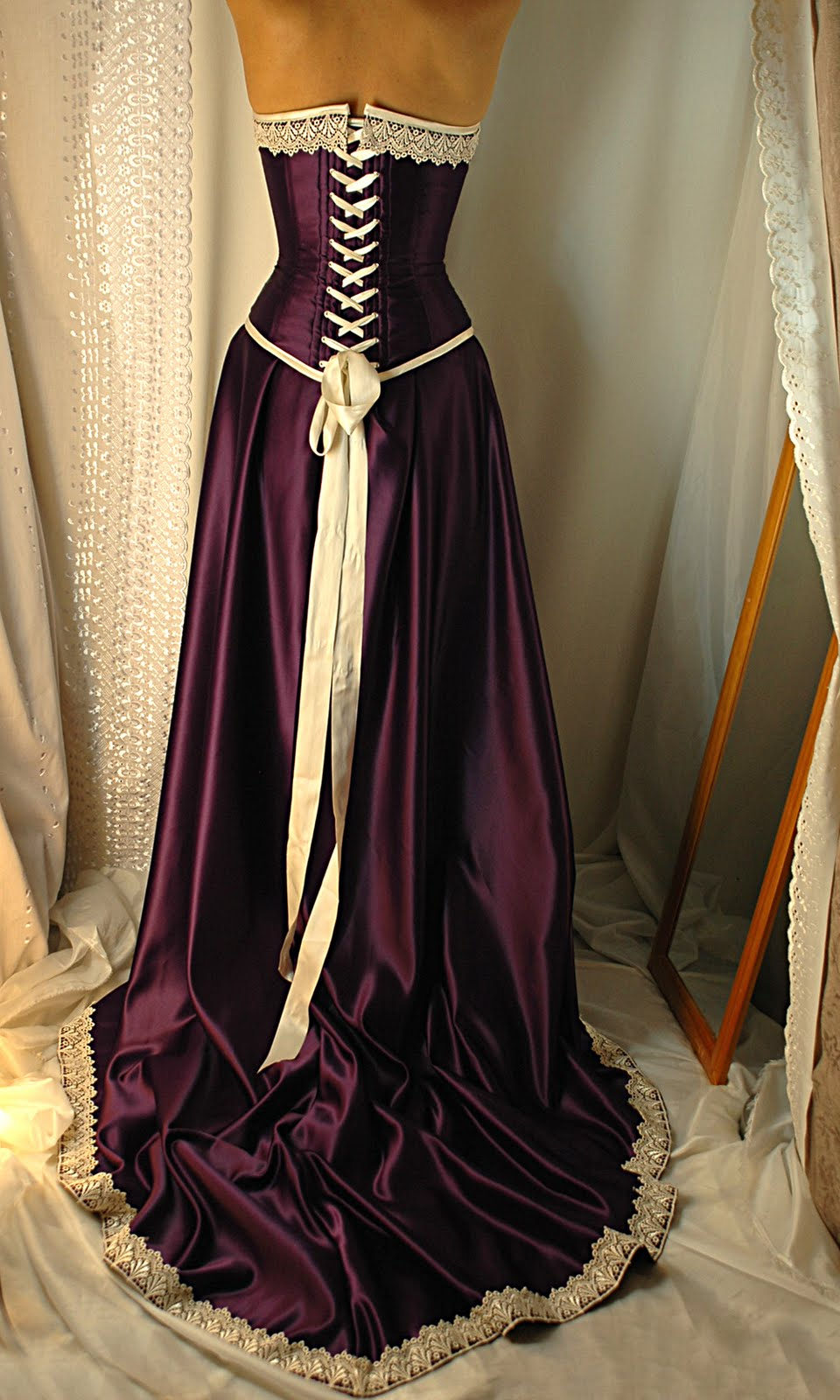 Cadbury purple and antiqued ivory corset gown bound by for Purple and ivory wedding dress