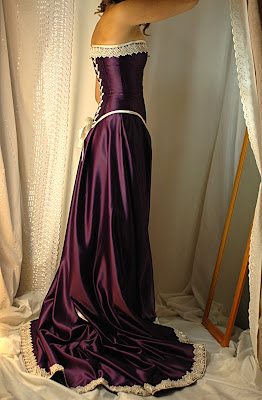 cadbury purple and antiqued ivory corset gown  bound