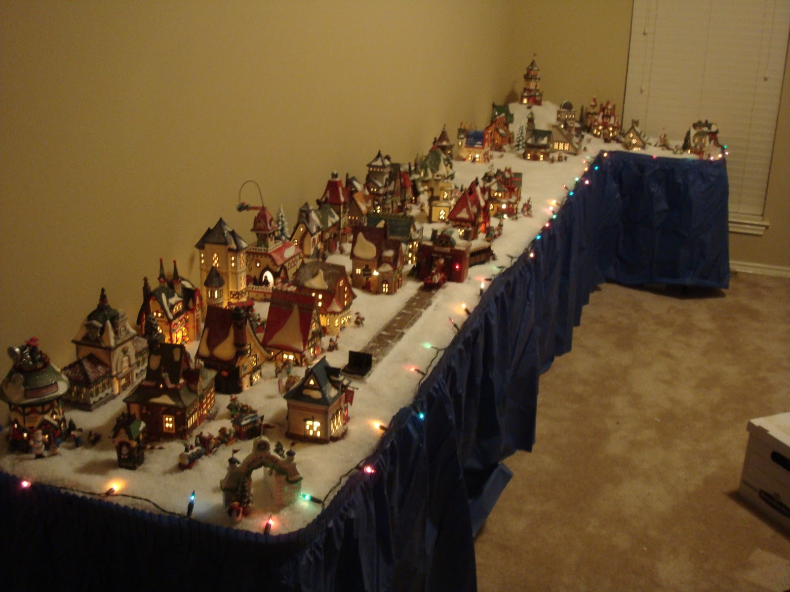 decorating tables with department 56 north pole houses.