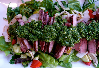 Beets & Biscuits: flank steak salad with chimichurri sauce