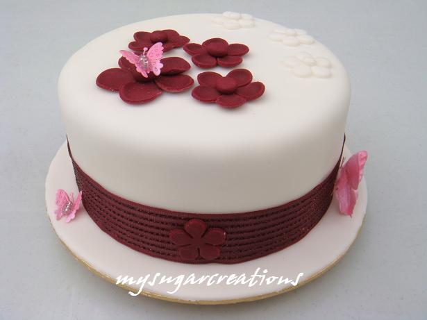 My Sugar Creations 001943746 M Maroon Themed Wedding Anniversary Cake