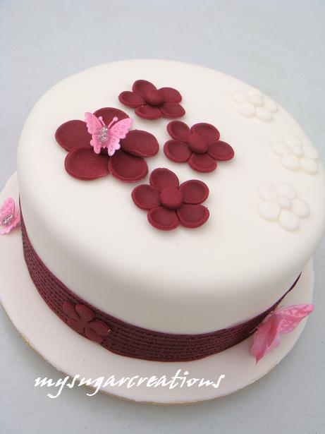 Simple Anniversary Cake Images : My Sugar Creations (001943746-M): Maroon Themed Wedding ...