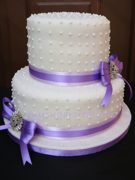 Wedding Cake Purple Ribbon 3recipe 2tier 6 and 9 round Lemon Butter