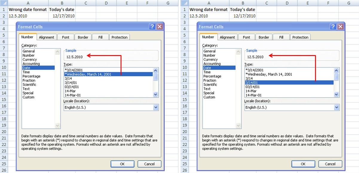 Excel dates format subtracting