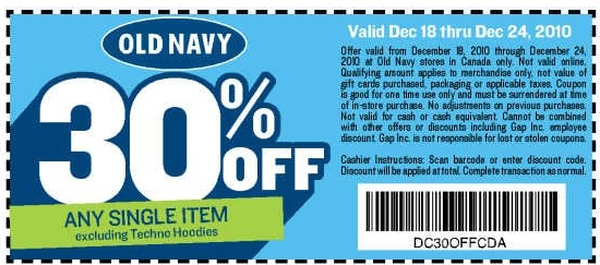 photograph relating to Old Navy Printable Coupon named Canadian Everyday Bargains: Previous Army Canada: 30% Off Just one Product