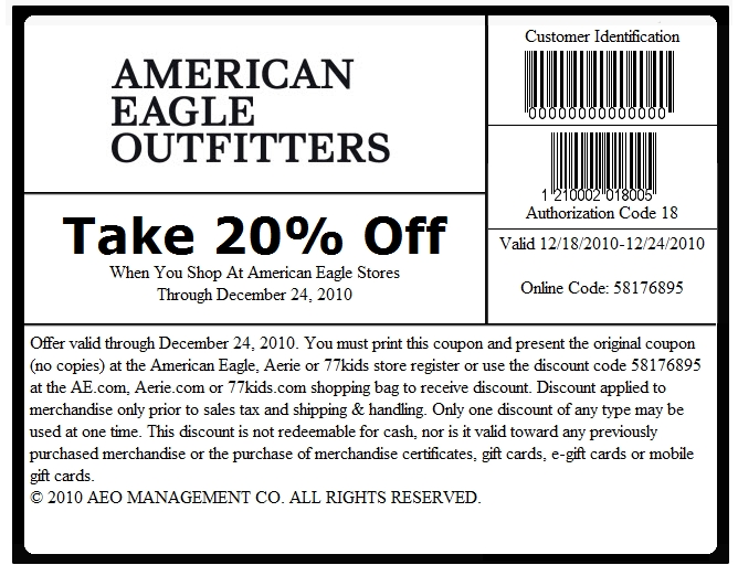 American eagle coupons in store december 2018