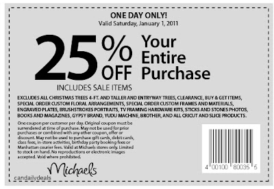 photo about Michaels Coupon Printable named Canadian Day-to-day Offers: Michaels: 25% Off Total Invest in