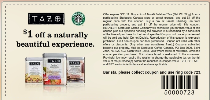 Starbucks Coupons & Promo Codes Our coupon hunters want to make sure you get the stuff you want without emptying your pockets. Click the button to check Starbucks' homepage for codes & discounts, and don't forget to sign up for their email list to get deals directly to your inbox.