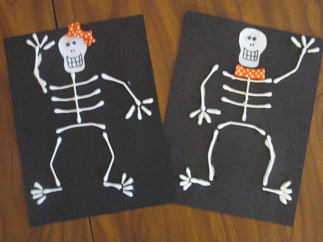 Q tip skeleton craft template for Q tip skeleton template