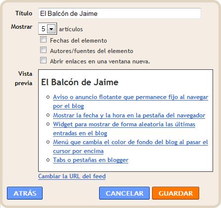 Mostrar las últimas entradas de una etiqueta específica en la barra lateral en blogger