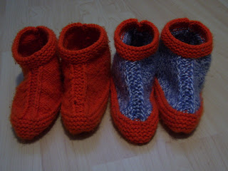 Two Needle Slippers in Bernat Softee Chunky Denim Ragg and Hot Orange