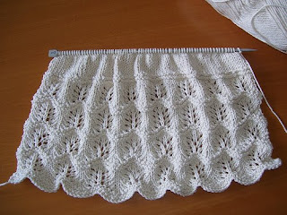 Back of Springtime Tee, 4 lace repeats completed and beginning of St st