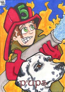 p'ups, dalmation, firewoman