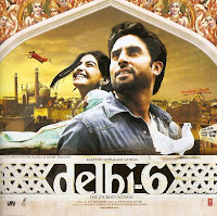 picture of abhishek bachchan sonam kapoor and pigeon masakali in mughal architecture building from movie poster of delhi 6
