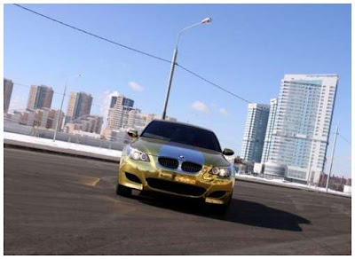 gold plated bmw m5 car in russia