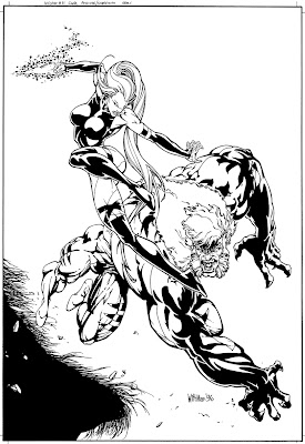 Bart Sears Wizard Unused Cover - Psylocke v Sabretooth