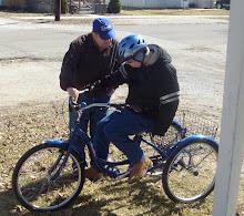 Preston's 1st time to sit on bike